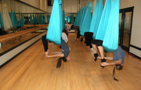 Twist and turn with anti-gravity yoga