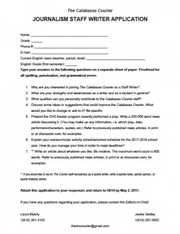 Staff Writer Application