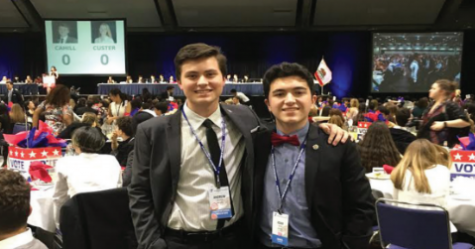 Seniors Andrew Mishkin and Adam Meleo celebrate their final Y&G conference