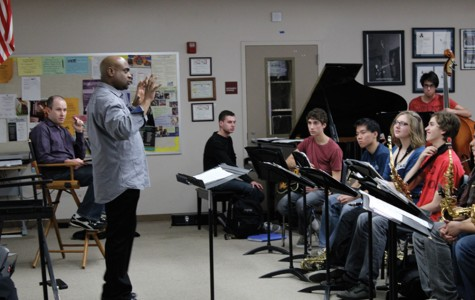 Terell Stafford helps the Jazz A band prepare for the Duke Ellington Festival