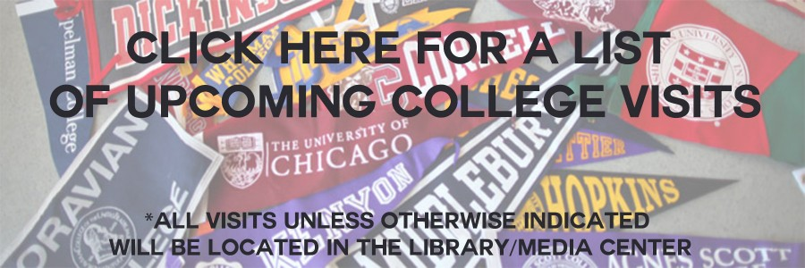 Check out the upcoming college visits!
